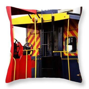 Cabooses Throw Pillow by Rodney Lee Williams