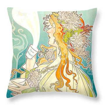 Cacao Van Houten Throw Pillow by Henri Pivat Livemont