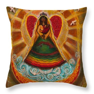 Throw Pillow featuring the painting Cachita Madonna by Deborha Kerr