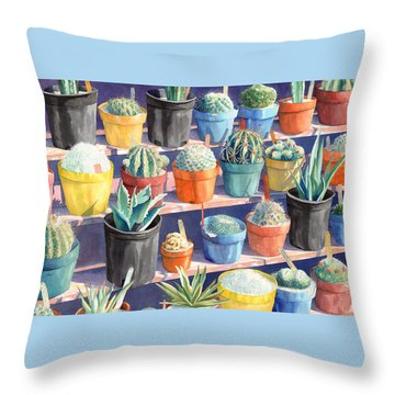 Cacti Chorusline Throw Pillow