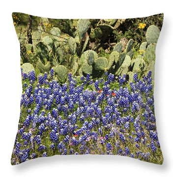 Cactus And Wild Flowers Throw Pillow