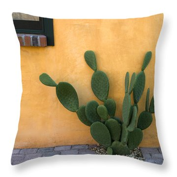 Cactus And Yellow Wall Throw Pillow by Carol Leigh