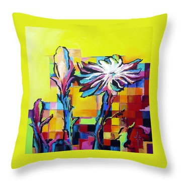 Throw Pillow featuring the painting Cactus Blossom by Jodie Marie Anne Richardson Traugott          aka jm-ART