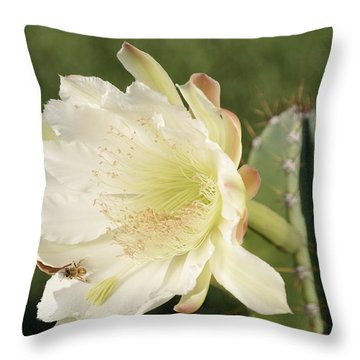 Cactus Flower And Bee Throw Pillow