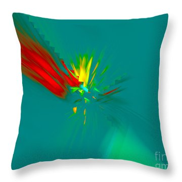 Throw Pillow featuring the digital art Cactus Flower by Victoria Harrington