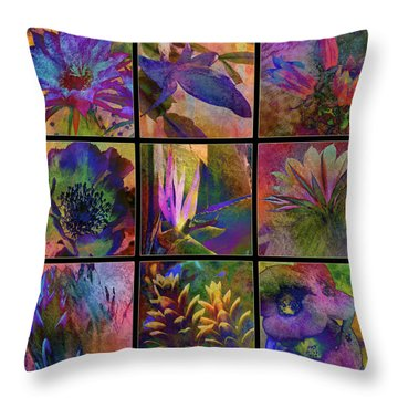 Cactus Flowers Throw Pillow by Barbara Berney