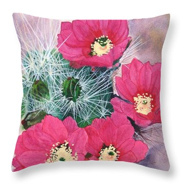 Cactus Flowers I Throw Pillow by Mike Robles