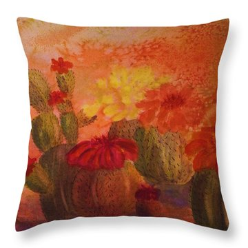 Cactus Garden - Square Format Throw Pillow