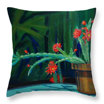 Throw Pillow featuring the painting Cactus In Bloom 1 by Dan Redmon
