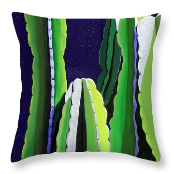 Cactus In The Desert Moonlight Throw Pillow