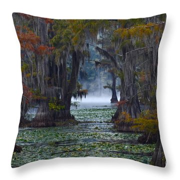 Caddo Lake Morning Throw Pillow by Snow White