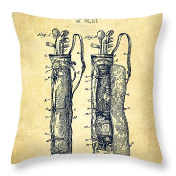Caddy Bag Patent Drawing From 1905 - Vintage Throw Pillow