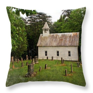 Cades Cove Church Throw Pillow by Marty Koch