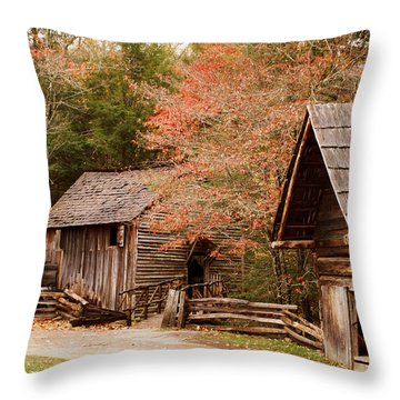Cades Cove Grist Mill Throw Pillow