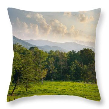 Cades Cove Throw Pillow by Melinda Fawver