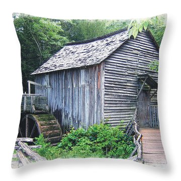 Cades Cove Mill Throw Pillow