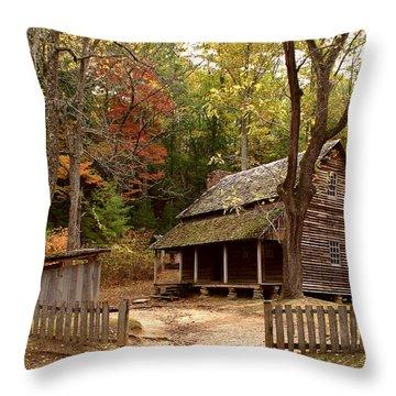 Cades Cove Mountain Home Throw Pillow