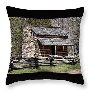 Cades Cove Old Cabin Art01 Throw Pillow