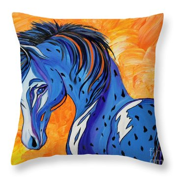 Throw Pillow featuring the painting Cadet The Blue Horse by Janice Rae Pariza