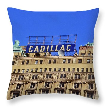 Cadillac Building In Downtown Detroit Throw Pillow