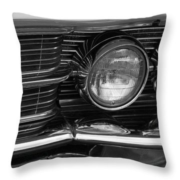 Cadillac Grill And Lights B/w Throw Pillow by Mick Flynn