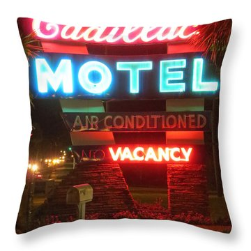 Cadillac Motel Throw Pillow by Tim Townsend