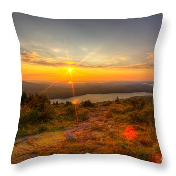 Cadillac Mountain Sunset Acadia National Park Bar Harbor Maine Throw Pillow