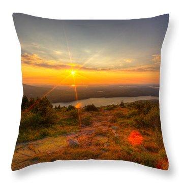 Cadillac Mountain Sunset Acadia National Park Bar Harbor Maine Throw Pillow