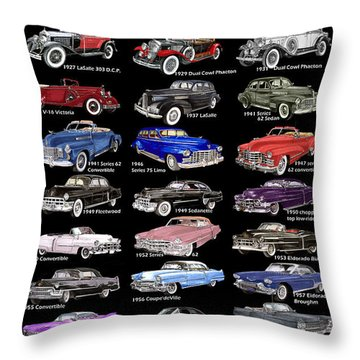 25 Cadillacs In A Poster  Throw Pillow