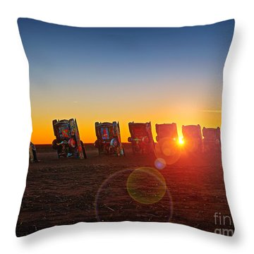 Cadillac Ranch Sunset Throw Pillow