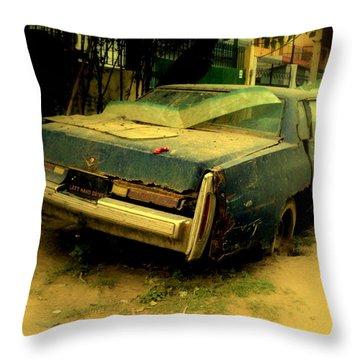 Cadillac Wreck Throw Pillow by Salman Ravish