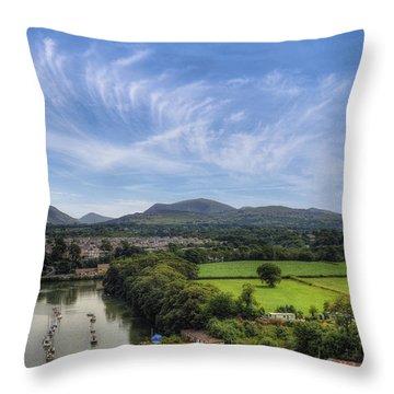 Caernarfon Harbour Throw Pillow by Ian Mitchell