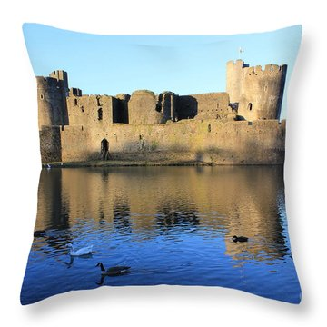 Throw Pillow featuring the photograph Caerphilly Castle by Vicki Spindler