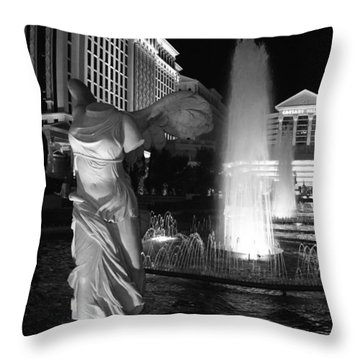 Caesars Fountain Bw Throw Pillow