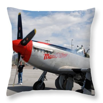 Throw Pillow featuring the digital art Caf P-51 Manowar by Arthur Eggers