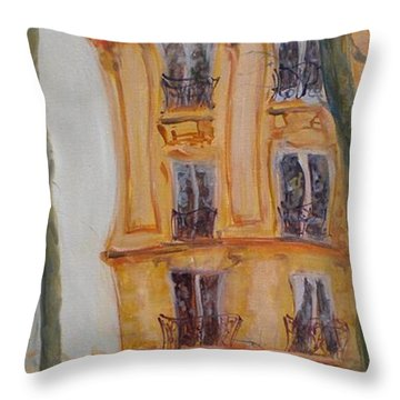 Cafe Bar La Cappuccino, 2010 Oil On Canvas Throw Pillow