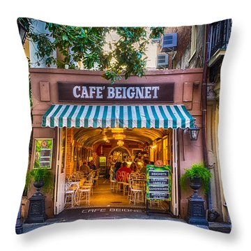 Cafe Beignet Morning Nola Throw Pillow by Kathleen K Parker
