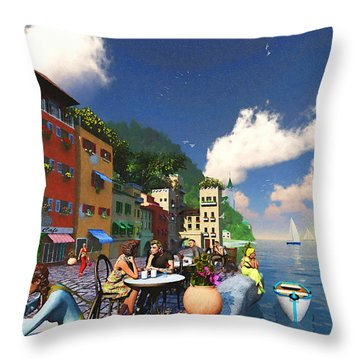 Cafe By The Sea Throw Pillow by Ken Morris
