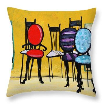 Cafe Chairs Throw Pillow by Karon Melillo DeVega