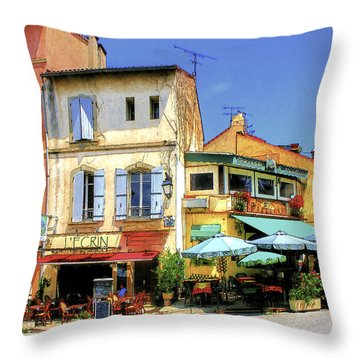 Cafe Corner Throw Pillow by Douglas J Fisher