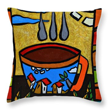 Throw Pillow featuring the painting Cafe Criollo  by Oscar Ortiz