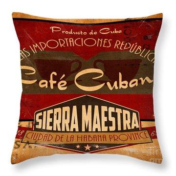 Cafe Cubano Crate Label Throw Pillow