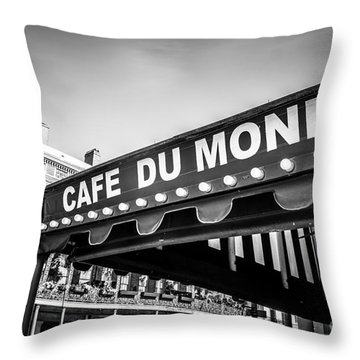 Cafe Du Monde Black And White Picture Throw Pillow by Paul Velgos