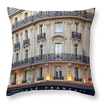 Throw Pillow featuring the photograph Cafe Francais by Brian Jannsen