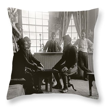 Throw Pillow featuring the photograph Cafe Game 1894 by Martin Konopacki Restoration