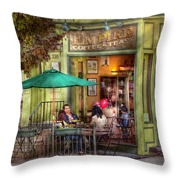 Cafe - Hoboken Nj - Empire Coffee And Tea Throw Pillow by Mike Savad