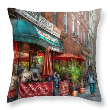 Cafe - Hoboken Nj - Vito's Italian Deli  Throw Pillow by Mike Savad