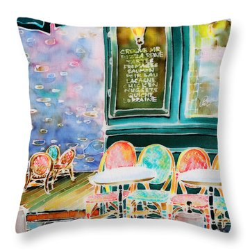 Cafe In Montmartre Throw Pillow