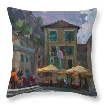 Cafe In Old City Throw Pillow