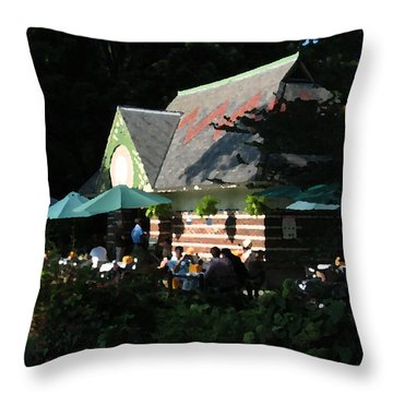 Cafe In The Trees Throw Pillow by Yue Wang